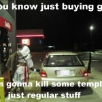 Ezio from Assassins Creed Pumping Gas