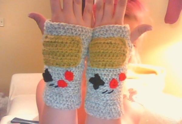 Fingerless Crochet Game Boy Gloves