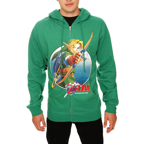 Legend of Zelda Ocarina of Time 3D Link Bow Zip Hoodie