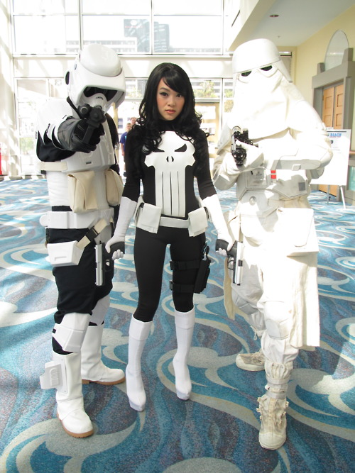 Punisher Cosplay Posing with a Scoutrooper and Snowtrooper