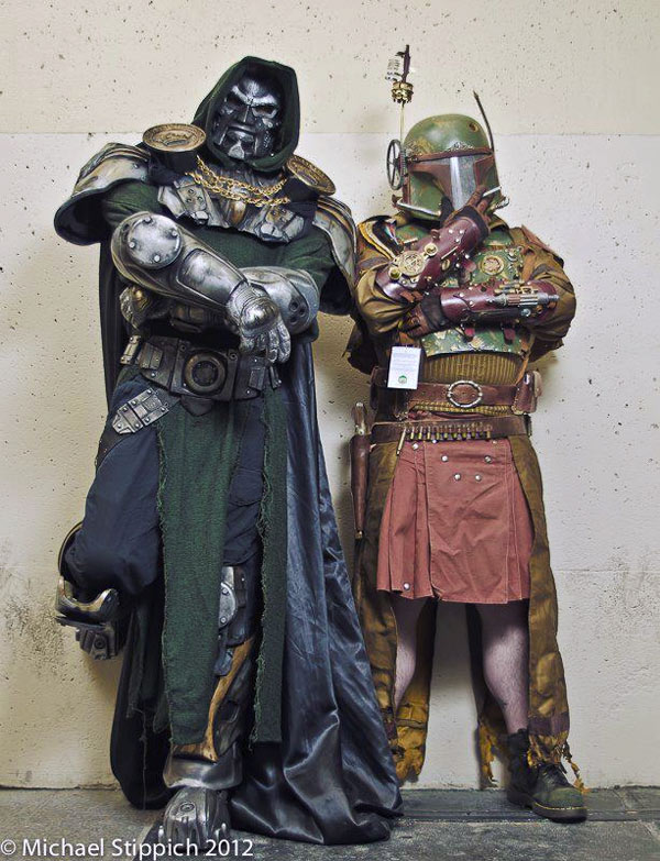 Steampunk Boba Fett and Steampunk Doctor Doom Cosplay