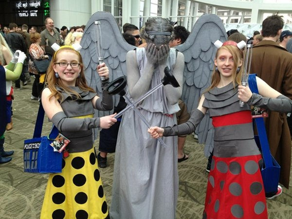 Adorable Dalek and Weeping Angel Cosplay