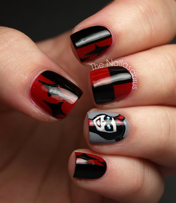 Harley Quinn Fingernail Art