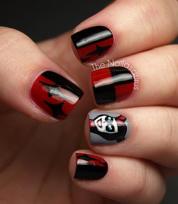 Harley Quinn Fingernail Art