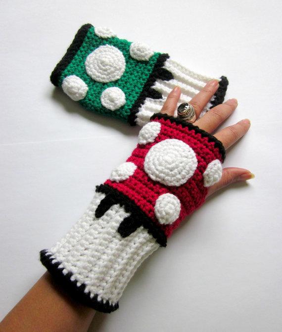 Super Mario Bros Mushroom Crochet Wrist Warmers