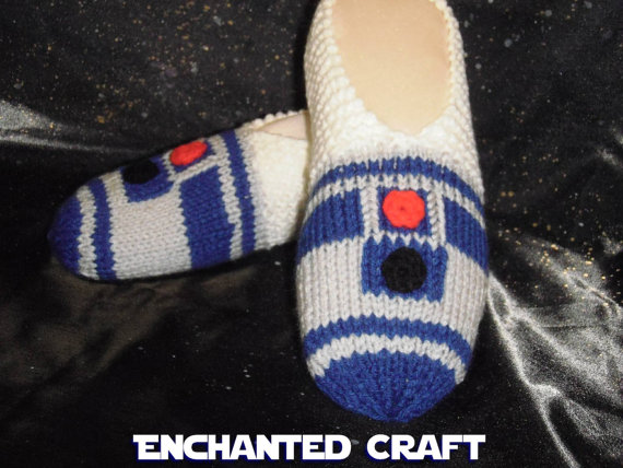 Knitted R2-D2 Slippers