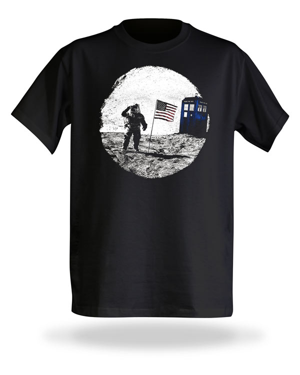 Doctor Who Moon Landing TARDIS Photobomb Shirt