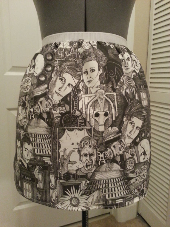Black and White Doctor Who Skirt