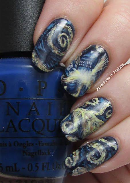 Doctor Who Exploding TARDIS Fingernail Art